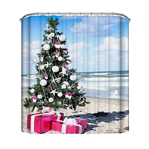 MUYI Christmas Waterproof Polyester Bathroom Shower Curtain Decor With Hooks New F