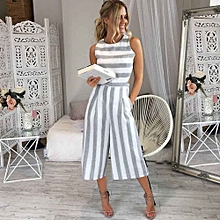 Hiamok_Women Sleeveless Striped Jumpsuit Casual Clubwear Wide Leg Pants Outfit L - White - XL