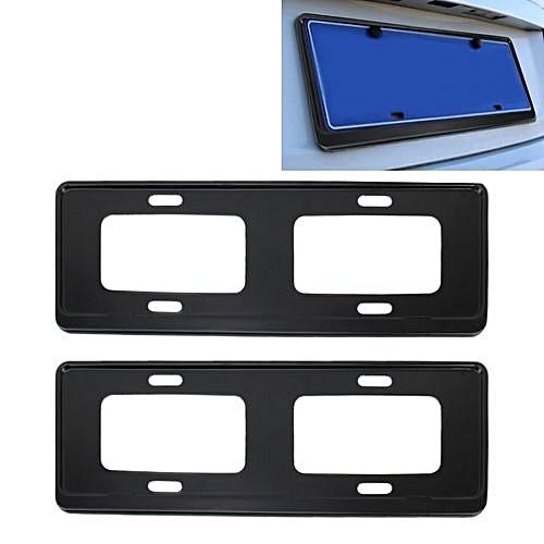 2 Pcs Car License Plate Frames Stainless Steel Frame Black