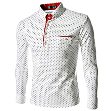 Men Dot Print Shirt - White+Red