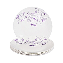 Dinner Plates  6 Pieces + FREE 6 Tablespoons - White and Purple flowers