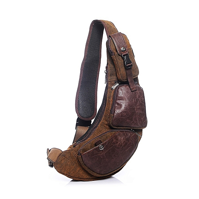 f68f2d7e3048 ... Men Canvas Travel Hiking Riding Crossbody Shoulder Bag Sling Chest  Casual Bag ...