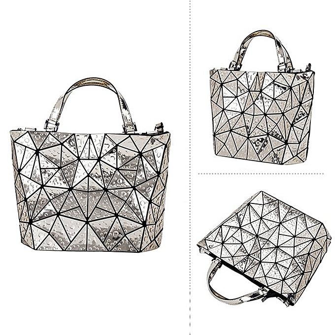 6c28f562b70 Raindrop Triangle Pattern Tote Bag PU Leather Foldable Handbags for Women  gold