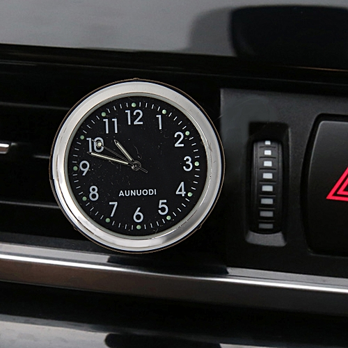 Car Outlet Clock Car Luminous Material Car Clock Car Electronic Watch Car  Air Conditioning Outlet Perfume Ornaments With Balm(Black)