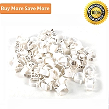 100PCS 16MM 001-100 Numbered Plastic Poultry Chickens Ducks Goose Leg Bands Rings(White)