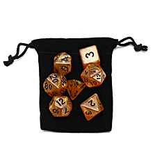 Wiz Dice 7 Die Polyhedral Set Dwarven Brandy Yellow Sparkle RPG DnD Dice W/ Bag