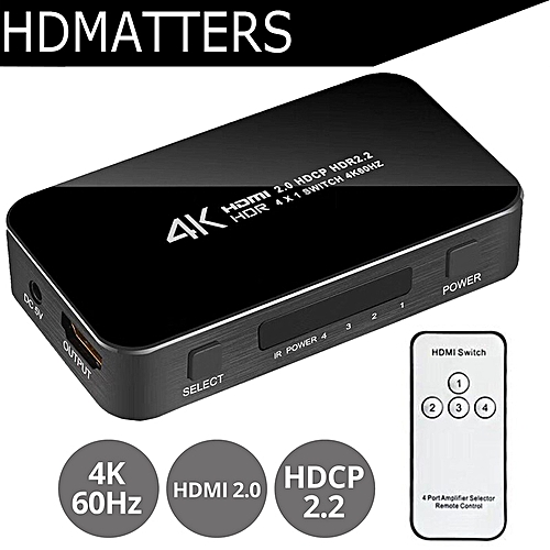 New UHD HDMI 2 0 Switch 4K Switcher HDMI 4 in 1 out 3840X2160P/60HZ HDCP  2 2 1080P for PS4 pro DVD Laptop PC( )
