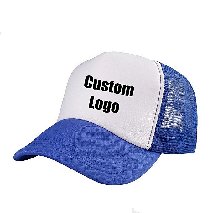 4f77d73091809 Accept 1 Piece DIY OEM Custom LOGO 100% Polyester Men Women Baseball Cap  Mesh Snapback Print Logo Trucker Hat(02 Light blue)