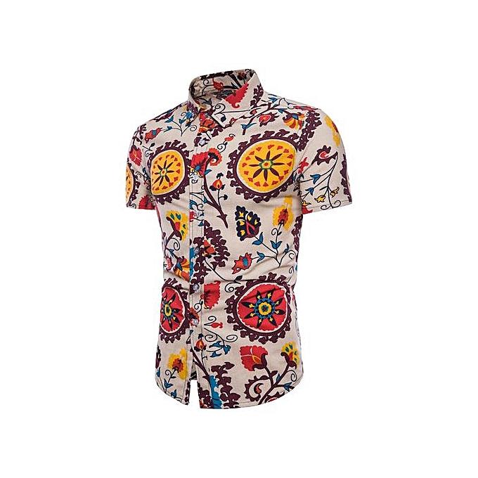 b608417c2d24b Fashion Hiaojbk Store Men Summer Bohe Floral Short Sleeve Hawaii Basic T  Shirt Blouse Top Plus Size L-Yellow