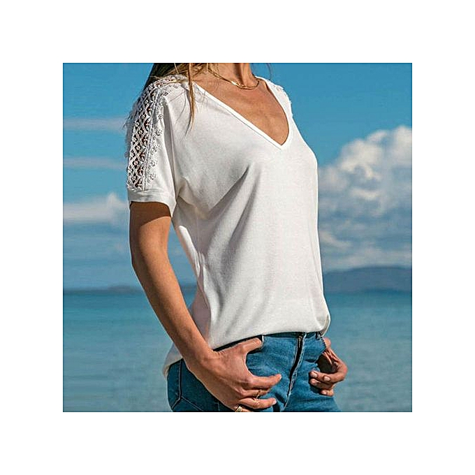 abe902c45d2aa7 Hiaojbk Store Fashion Womens Short Sleeve V Neck Lace Patchwork Casual  Shirt Blouse-White