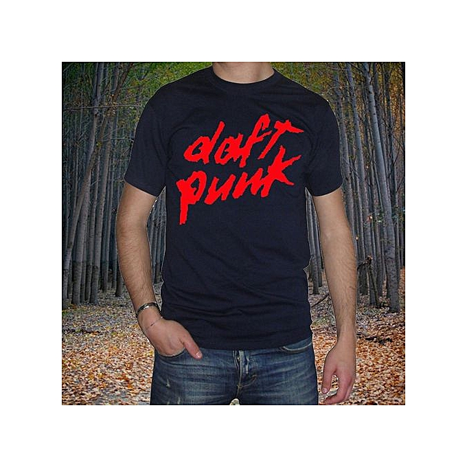 best service 2b973 6782f Men's T-shirt Duft Punk Druck Rot Electro Haus Music Summer Short Sleeves  Cotton Tops S To 3XL