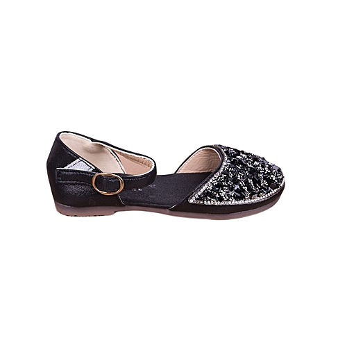1cbd6ad81793 Generic Baby Girl s Closed Toe Flat Outdoor Sandal Dress Shoes With Strap  Easy To Wear Kids Casual Shoes-Black
