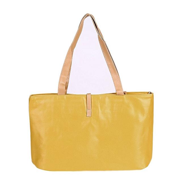 596d2d8f4b Women PU Leather Tote Shoulder Bags Hobo Handbags Satchel Messenger Bag  Purse-Yellow