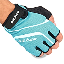2PCS Anti-slip Hydrofuge Half Finger Bike Cycling Gloves Summer Racing Mountain Bicycle - Blue