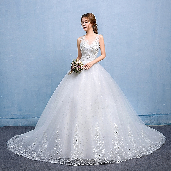 Classic Floral Lace Women Dresses Wedding Gown