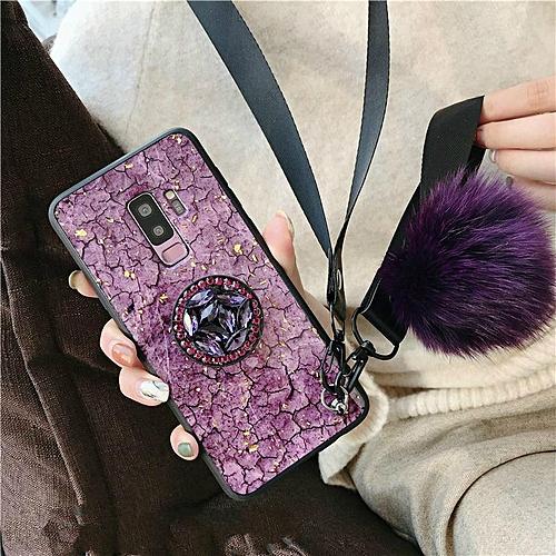 Galaxy S9 Plus Case Luxury Fashion Female Lady Phone Cases Rhinestone Stand Hair Ball Soft Cover Green Purple Girl Housing For Samsung Galaxy S9 Plus