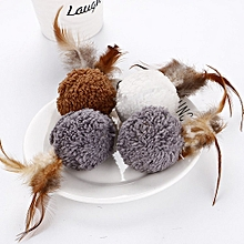 Cat Plush Ball With Feathers Catnip Pet Cat Toy Brown