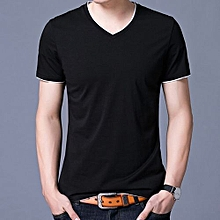 Contrast Trimed Casual Solid Short Sleeve T-shirt (Black)