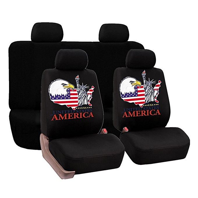 Universal Faux Leather Car Seat Covers 8pcs Full Set Front And Rear Cloth