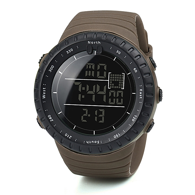 Fashion Black Sports Rubber Band Men's Digital Army Military Quartz Wrist Watch-Coffee - Coffee