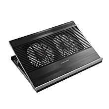 Ultra Slim Laptop Cooler Pad Mat 2 Quiet Fans USB Powered for 17inch Black