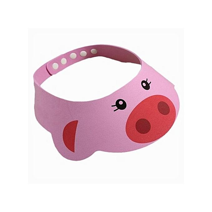 b56a8f99ab3 ... Adjustable Kids Baby Shampoo Bath Shower Cap Hat Wash Hair Waterproof  Shield Pink ...