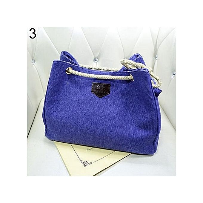 Women s Fashion Hobo Canvas Shoulder Bag Messenger Purse Satchel Tote  Handbag-Blue 84de9f4998031