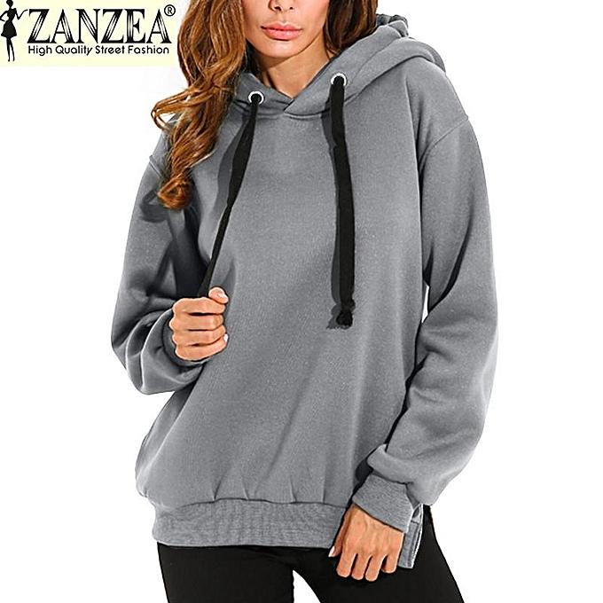 cd8c104e04a ZANZEA Trendy Women Casual Hoodies Sweatshirts Hoody Pullover Leisure  Autumn Long Sleeve Hem Split Solid Outwear
