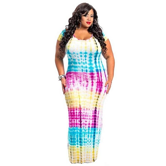 bce224bc81 Summer Large Plus Size Women Dress Short Sleeve Tie Dye Dresses Large Size  Loose Casual Maxi