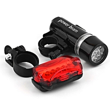 5 Water Resistant LED Bike Bicycle Head Light Rear Safety Flashlight Bracket