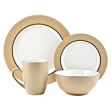 16pc - Kensington Latte Dinner Set - Cream & White