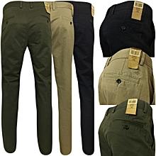 3 Pack Khaki Pants -Black,jungle green&off-white + Free Pair Of Socks