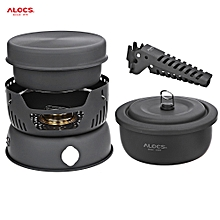 CW - C05 Portable 2 - 4 Person 10pcs Kitchenware Set Alcohol Stove For Outdoor Hiking Camping Picnic - Black