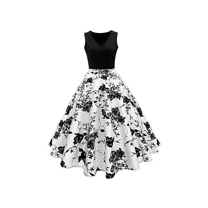 Woman Vintage Print Fit&flare Dress - White