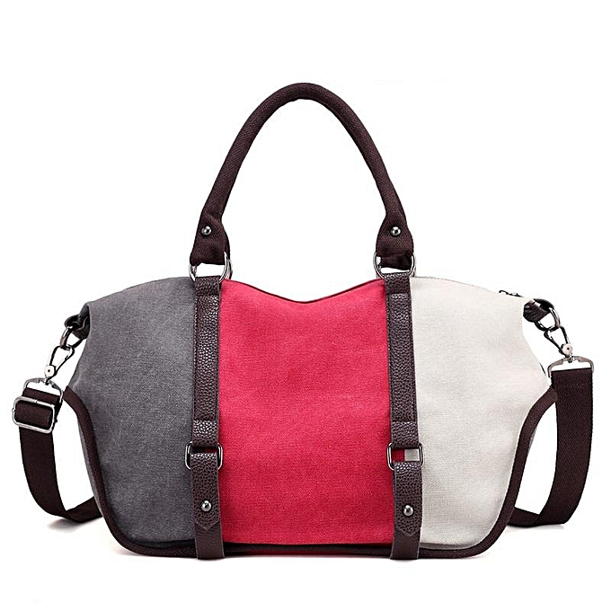 2a77035ef5ea Women Quality Canvas Casual Color Block Large Capacity Handbag Shoulder Bag  Crossbody Bag  grey and red and white