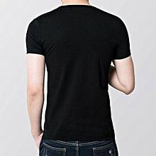 Mens Slim Fit V Collar T-shirt Short Sleeve Shirt Casual Tee Tops BK XXXXL- Black