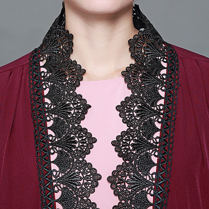 ba3e6df27b ... Women Plus Size Muslim Cardigan Crochet Lace Spliced Color Block Long  Sleeve Maxi Gown Islamic Dress ...