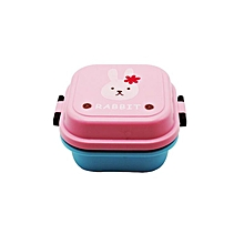 Home-Practical Cartoon Plastic Lunch Box Eco-Friendly Food Container Lunchbox pink