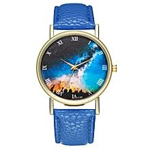 Fovibery Woman Men Fashion Leather Band Analog Quartz Round Wrist Watch Watches