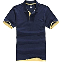 Men's Polo Shirt With Contrast Hem (Navy/Yellow)