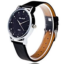 Fashion Luxury Women Analog Quartz Watch Leather Band Rhinestone Wrist Watch BK