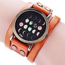 guoaivo  CCQ Moon Eclipse Pattern Leisure  Casual Analog Quartz Bracelet Watch  -Orange