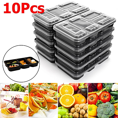 10Pcs Microwave Safe Food Containers Plastic Takeaway Storage Lunch Box  2500ml