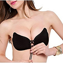 Fashion Silicone Adhesive Sticky Invisible Push Up Strapless Backless Bra - Black