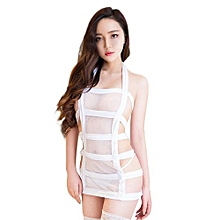 Women Sexy Strappy Lingerie Set Seductive Briefs Mesh Upper Wear Bondage Nightwear Flirting Jumpsuit For Sex Game  Color:white Size:free Size