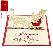 Merry Christmas Card Deer Car Pop Up Laser Cut For Birthday Greeting red