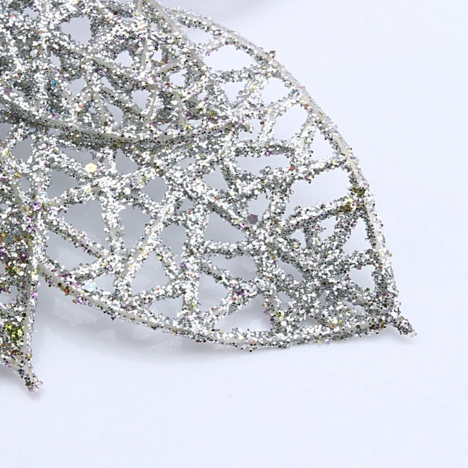 ... Hollow Christmas Flowers Xmas Tree Decorations Wedding Party Decor  Ornaments (Silver) bfcaa4dc736d
