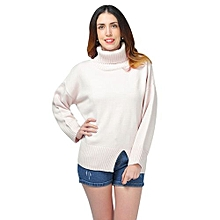 Turtleneck Slit Oversized Pullover Sweater - OFF-WHITE 1234cea40