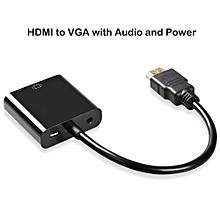 ( Colour:black;Variation:HDMI To VGA With Audio And Power)HDMI TO VGA Adapter With Audio And Power High-Speed 1080P Active HDMI To VGA Converter Adapter Male To Female For Projector/TV/PC/Laptop/DVD HDTV