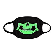 Unsiex Men Noctilucence Luminous Green Cartoon Skeleton Pattern Anti-Dust Cotton Mouth Mask